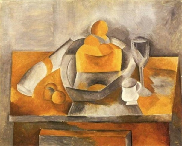 "Pablo Picasso, ""Bread and Fruit Dish on a Table"" (1909)"